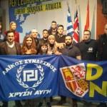 Militantes de DN y Golden Dawn.