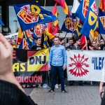 Chaparro, Vicepresidente de DN al frnete de la concentración en Plaza de España de Barcelona