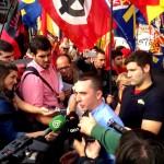Chaparo atiende a los medios en plaza de España