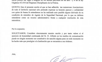 Ante la sanción cautelar al sub-inspector de policía D. Alfredo Perdiguero<br><span style='color:#006EAF;font-size:12px;'>Grupo de asociaciones piden que se retire la sanción a Alfredo Perdiguero.</span>