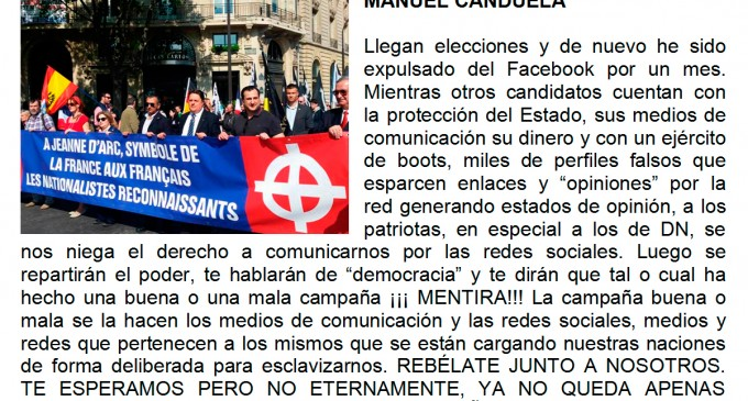 Canduela de nuevo censurado en Facebook<br><span style='color:#006EAF;font-size:12px;'>Elecciones libres lo llaman</span>