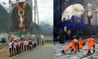 Inauguran el tunel de San Gotardo con un siniestro ritual<br><span style='color:#006EAF;font-size:12px;'>Vídeos del extraño ritual en Suiza en la inauguración del tunel más largo del mundo</span>