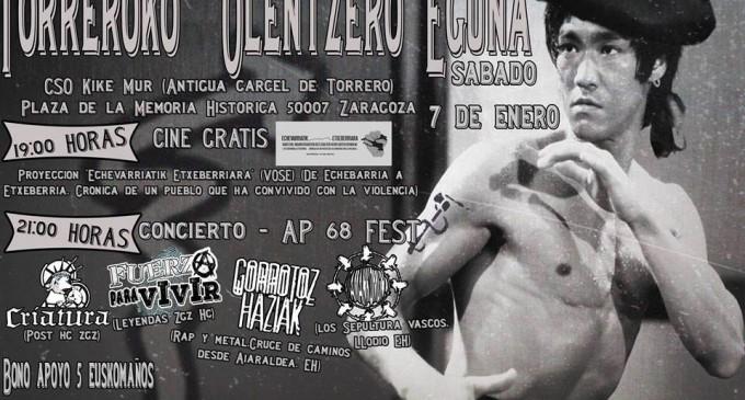 """La plataforma antifascista """"absolución 10 de Zaragoza"""" exalta el terrorismo de ETA en un cartel anunciador de un concierto.<br><span style='color:#006EAF;font-size:12px;'>Comunicado delegación Democracia Nacional Zaragoza</span>"""