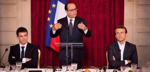 El primer ministro Valls, presidente de la República Hollande y el ministro de Economía Macron.
