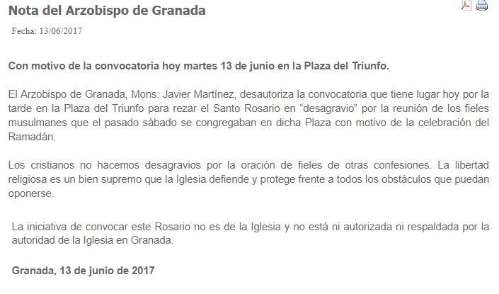 Nota de prensa del Arzobispo de Granada.