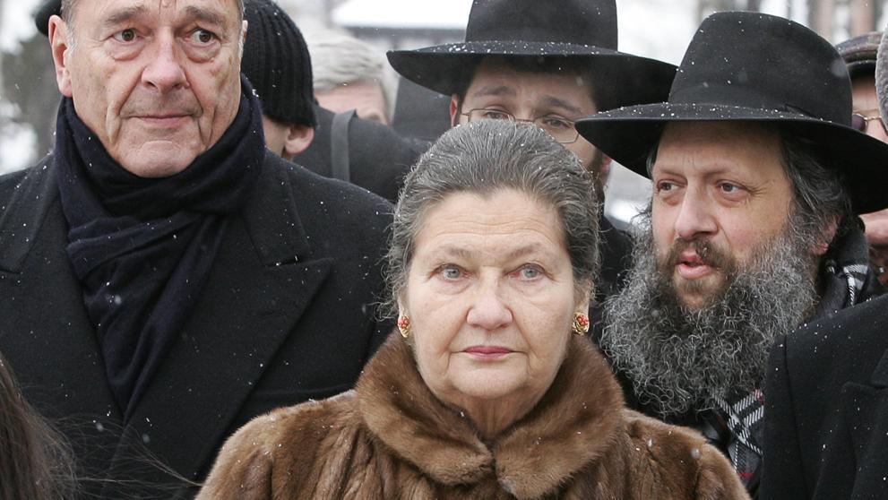 Veil y Chirac con rabinos franceses.