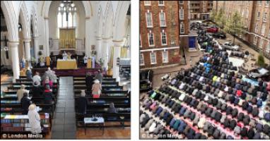 Izquierda: iglesia semivacía. Derecha: musulmanes orando en la calle a escasos metros de la iglesia.