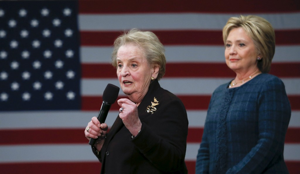 Former U.S. Secretary of State Madeleine Albright introduces Democratic U.S. presidential candidate Hillary Clinton during a campaign stop in Concord, New Hampshire