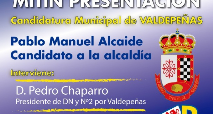 Mitin presentación candidatura Democracia Nacional en Valdepeñas<br><span style='color:#006EAF;font-size:12px;'>ELECCIONES MUNICIPALES</span>