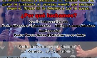 """Jornada de Conferencias de DN en el Centro """"El Alcázar"""" de Valladolid<br><span style='color:#006EAF;font-size:12px;'>SÁBADO 22 DE FEBRERO A LAS 18 HORAS</span>"""