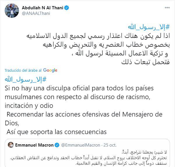 Tweet de Al Thani al presidente francés.