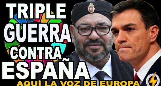 Triple guerra contra España<br><span style='color:#006EAF;font-size:12px;'>RADIO AQUÍ LA VOZ DE EUROPA</span>