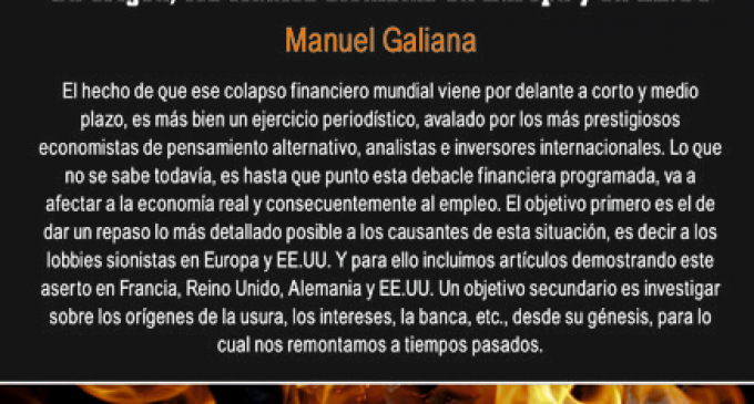 Próximo sábado día 21 de mayo, conferencia a cargo de Manuel Galiana: Colapso Financiero Mundial<br><span style='color:#006EAF;font-size:12px;'>Librería Europa</span>